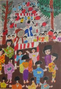茨城県筑波郡 筑波第一小学校 広瀬 悦子(1年) 「お祭り」