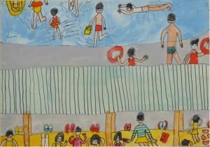 宮崎県えびの町 上江小学校 上野 和子(4年) 「海水よくじょう」