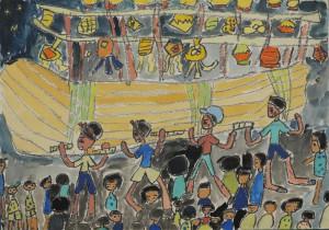 長崎県島原市 第三小学校 かみなが ふきこ(2年) 「みなと」